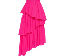 Asymmetric Tiered Neon Shell Midi Skirt Bright Pink