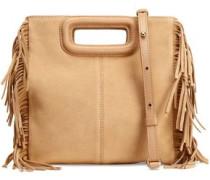 Fringe-trimmed suede shoulder bag