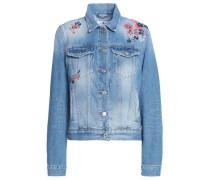 Modern Trucker embroidered distressed denim jacket