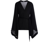 Draped Belted Jersey Top Black