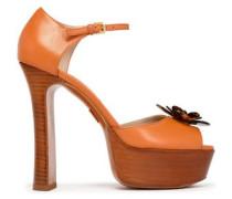 Floral-appliquéd leather platform sandals