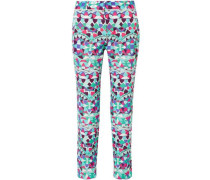Cropped Printed Cotton-blend Faille Straight-leg Pants Multicolor
