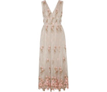 Pleated embroidered tulle gown