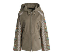 Embroidered Cotton-blend Twill Hooded Jacket Army Green