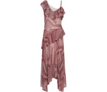 Ruffled Printed Crepe Midi Dress Red Size 00