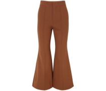 Cropped Stretch-wool Flared Pants Light Brown