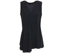 Wrap-effect Striped Silk Crepe De Chine Tunic Navy