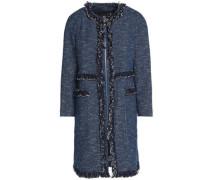 Frayed tweed cotton-blend coat