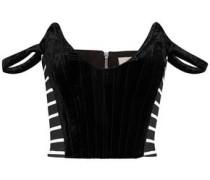 Penelope off-the-shoulder striped jersey-paneled velvet top
