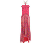 Draped Embellished Printed Silk-georgette Gown Multicolor