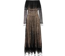Off-the-shoulder pompom-trimmed silk-lace maxi dress
