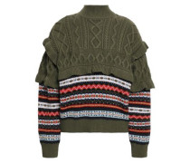 Fair Isle And Cable-knit Wool Turtleneck Sweater Army Green