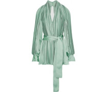 Open-back Belted Pleated Satin Top Light Green