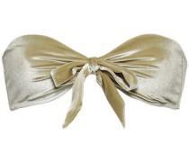 Bow-detailed Chenille Bandeau Bikini Top Sage Green Size I