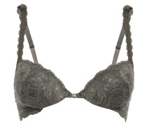 Woman Stretch-leavers Lace Push-up Bra Army Green