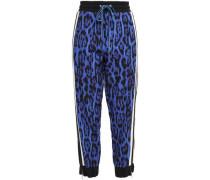 Striped Leopard-print Crepe Track Pants Royal Blue