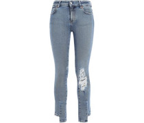 Planet Cropped Distressed Mid-rise Skinny Jeans Light Denim