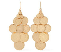 Woman Embossed Gold-tone Earrings Gold