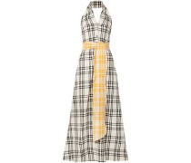 Belted Checked Cotton-voile Halterneck Gown Off-white