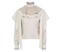 Draped Ruffle-trimmed Striped Silk-jacquard Blouse Beige