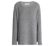 Mélange ribbed wool and cashmere-blend sweater