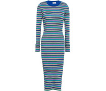 Metallic Striped Ribbed-knit Midi Dress Multicolor