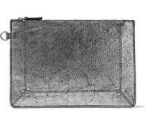 Metallic cracked-leather pouch