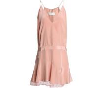 Lace-trimmed draped silk-blend crepe mini dress
