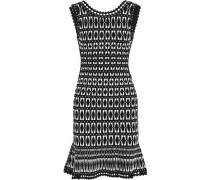 Open knit-trimmed jacquard-knit dress