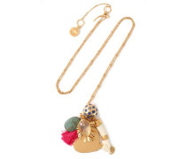 Gold-tone, moonstone, enamel and tassel necklace