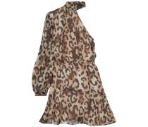 Woman Fergie One-shoulder Gathered Leopard-print Chiffon Mini Dress Animal Print