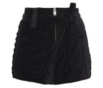 Woman Spell Belted Lace-up Cotton-velvet Shorts Black