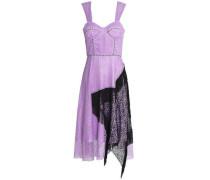 Asymmetric fringed two-tone corded lace midi dress