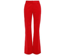 Woman Cotton-corduroy Flared Pants Red