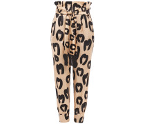 Woman Nancy Belted Printed Satin Tapered Pants Sand