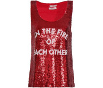 Sequined Mesh Top Red