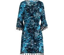 Pompom-trimmed printed silk mini dress
