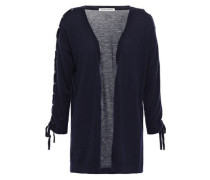 Lace-up Cashmere Cardigan Navy