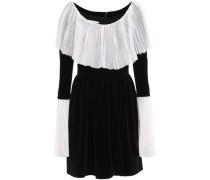 Pleated Crepe-paneled Cotton-blend Velvet Mini Dress Black