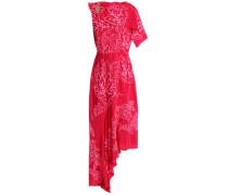 Asymmetric embroidered silk-satin midi dress