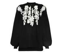 Lako Embroidered Cotton-poplin Blouse Black