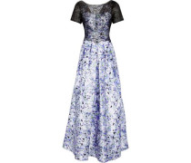 Embellished lace-paneled floral-print satin-twill gown