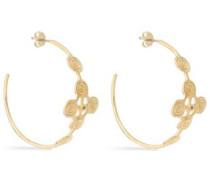 Gold-tone crystal hoop earrings
