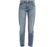 Beckham Distressed High-rise Boyfriend Jeans Mid Denim  4
