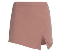 Wrap-effect layered crepe mini skirt