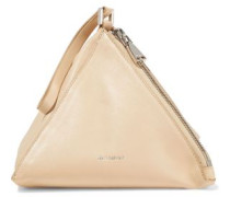 Woman Textured-leather Clutch Beige