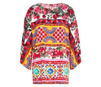 Printed Silk-blend Crepe De Chine Blouse Red
