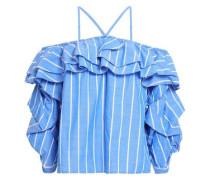 Off-the-shoulder Ruffled Striped Cotton-poplin Top Azure