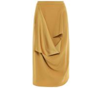 Draped Satin-crepe Skirt Mustard