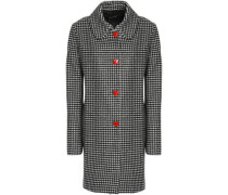 Snap-detailed gingham wool-blend coat